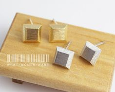 Faceted square earrings, geometric earrings, geometric jewelry