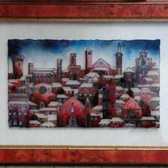 """Tetti con Neve - 16"""" x 24"""" - Reverse Glass Painting - Massimo Cruciani"""