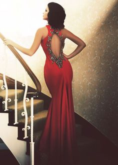 Pia Michi 1336 Red Beaded Open Back Gown - Couture Dresses - RissyRoos.com