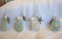 Wedding Jewelry Sea Glass,  Jewelry for Bridesmaids Blue Beach Sea Glass Jewelry, Sea Glass Necklace Sets. $80.00, via Etsy.