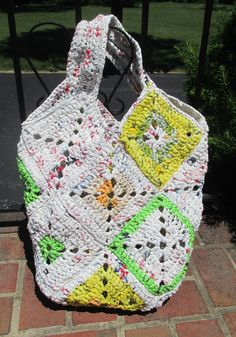 Giant Crocheted Plarn Tote Beach Bag Purse Multi by RedesignedRags, $47.50 My most recent plarn creation.