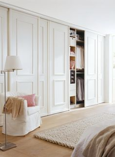 Accent wall paneling that are sliding doors for built in wardrobe Bedroom Built In Wardrobe, Bedroom Built Ins, Bedroom Closet Doors, Bedroom Closet Design, Home Bedroom, Bedroom Decor, Scandi Bedroom, Closet Built Ins, Wardrobe Doors