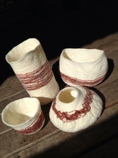 Wool on wool wet felted vessels by LeKeDe
