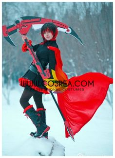 Costume Detail RWBY Ruby Rose Cosplay Costume Set Includes - Dress, Cape, Waistband, Belt & Bullet Bag Set We may have selected store sizes for this costume, ready for fast ship. Please check with us