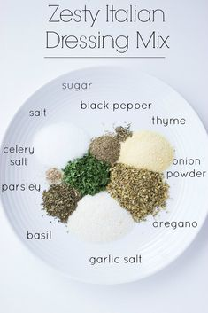 Homemade Zesty Italian Dressing Mix - with ton of flavour and similar to one at the store.double for dressing bottle- sub 1 TBSP fresh garlic for garlic salt- Homemade Spices, Homemade Seasonings, Homemade Ranch Seasoning, Spice Blends, Spice Mixes, Do It Yourself Food, Snacks Saludables, Seasoning Mixes, Seasoning Recipe