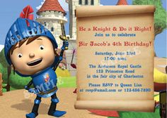 Mike the Knight Birthday -  DIY PRINTABLE Party INVITATION Etsy.