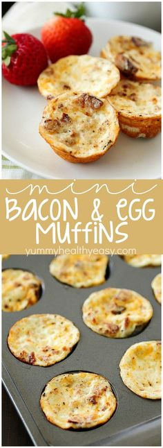 Mini Bacon Egg Muffins ~ healthy little breakfast bites, with only 43 calories and 3 grams of protein in every mini egg muffin! They're easy to make and perfect to make ahead and grab on the go!