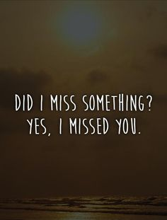 Did I miss something? Yes, I missed you. Picture Quotes.