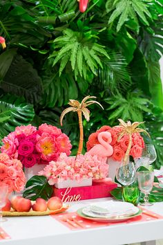 Coral Colored Tropical Resort Wedding Ideas- A sumptuous tablescape filled with coral colored summer resort wedding ideasthat makes you weak in the knees and fills you with punch drunk love. Tropical Wedding Reception, Summer Wedding, Wedding Beach, Wedding Coral, Wedding Mandap, Wedding Stage, Wedding Receptions, Palm Tree Decorations, Stage Decorations