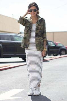 #streetstyle #armyprint #camo #maxi #stripes