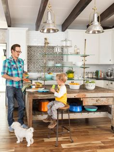 Industrial #kitchen with style in every square foot #hgtvmagazine http://www.hgtv.com/design/decorating/design-101/inside-the-home-of-mr-and-mrs-vintage-pictures?soc=pinterest