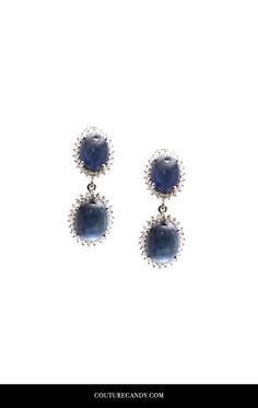 Tresor Collection - 18k White Gold Earring With Blue Sapphire & White Sapphire | CoutureCandy.com