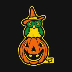 T-Shirt Design - Owl Perched on a Pumpkin