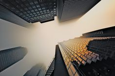 Architecture, photography, buildings, fog, morning, skyscraper