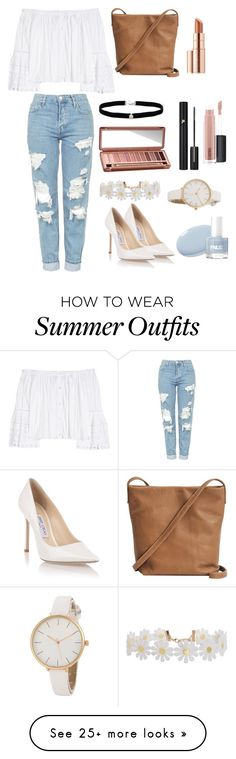 """""""Off the Shoulder Outfit"""" by jessicaiskoolio on Polyvore featuring Jimmy Choo, Carolina Herrera, Topshop, BAGGU, Amanda Rose Collection, Estée Lauder, Urban Decay, Lancôme, MAC Cosmetics and Humble Chic"""