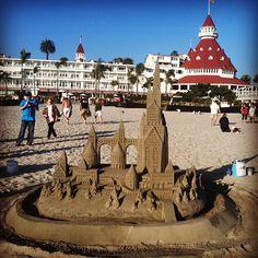 Sandcastle on the beach at Hotel del Coronado. Photo by sandradcarmola