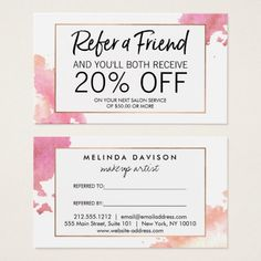 Creative Watercolor Referral Business Card