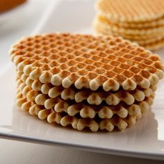Belgian Iron Cookies / Gaulettes - feature butter, brown sugar, and vanilla dough cooked on a waffle iron.