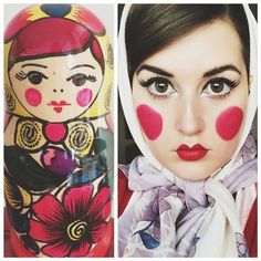 I absolutely LOVE matryoshkas (or babushka dolls or Russian nesting dolls, whatever you wanna call them.) This one I have in my collection is especially purdy so I felt like recreating her adorable makeup:)