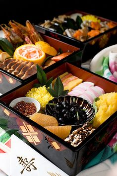 Osechi Ryori おせち料理 - Traditional Japanese New Year Food. So Happy New Year. Japanese New Year Food, Japanese Dishes, Sushi, New Year's Food, Tasty, Yummy Food, Cute Food, Snack, Oriental