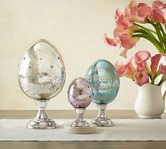 Think I'll just paint some silver with glued dots (?)    Mercury Eggs On Stands #potterybarn