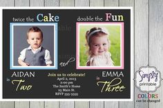 Double Birthday Party Invitation sibling birthday or joint party