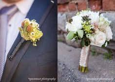 bridal bouquet and groom's corsage by De Rose Design