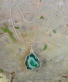 Onyx Druzy Gemstone Wire-Wrapped w/ 925 by CedarCreekCanada