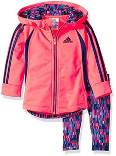 Adidas Girls\' Hooded Tricot Jkt Set, Flash Red, 6 Months. The hooded tricot jacket set features hood lined with all over seasonal prints, raglan sleeves and contrast front and back piecing. On seam pockets and drop-tail hem with printed facing. Embroidered Adidas brand mark on left chest. Printed tight with all over seasonal prints and screen-printed Adidas brand mark on lower left leg.