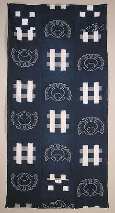 Japanese Kasuri Ikat Futon Cover, cotton with indigo dyed double ikat, 20th century