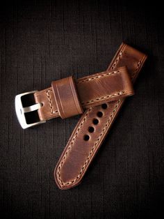 """Joaqin"" cognac handmade leather watch strap - Bas and Lokes"