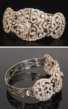 An early Century platinum diamond set bracelet, the pierced filigree pave set oval shaped hinged front section, length 8 cm, with central old cut stone weight approximately ct, the pierced hinged bracelet with engraved floral decoration. Antique Bracelets, Diamond Bracelets, Diamond Jewelry, Edwardian Jewelry, Antique Jewelry, Vintage Jewellery, Modern Jewelry, Fine Jewelry, Jewelry Bracelets