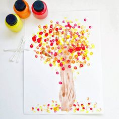 Trees are probably the most drawn object in the entire world. Why not amp up the game a bit with some paint and cotton swabs? Plus, who DOESN'T want to turn their hand into a tree? It beats that old hand-as-turkey project any day.