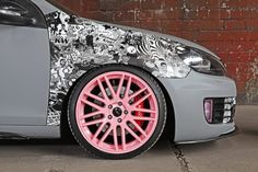 Listen to ten hours of dubstep, consult a manual for urban art and then tune a car. That's probably how this very interesting but thoroughly strange German-tuned Volkswagen Golf GTI came into the world. Jdm Stickers, Cool Stickers, Bumper Stickers, Label Stickers, Custom Car Decals, Custom Stickers, Vinyl Decals, Book Wrap, Pink Rims