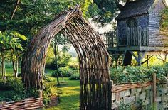 beautiful wood arched entryway to garden