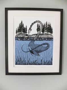 Loch Ness Monster Encounter Screen Print by thehungryfox on Etsy, $20.00