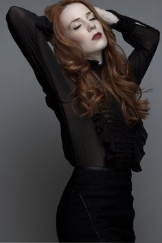 Simone Simons. She's got the perfect hair, make-up, eyes and skin.