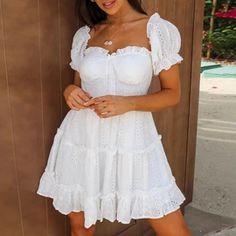 Summer Style Mini Dresses – Maizys Boutique White Dress Summer, Little White Dresses, White Mini Dress, Boho Mini Dress, Floral Midi Dress, Tulle Dress, Informal Wedding Dresses, Dresses With Sleeves, Mini Dresses