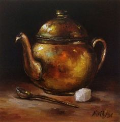 Copper Teapot Original Painting Nina R.Aide by NinaRAideStudio