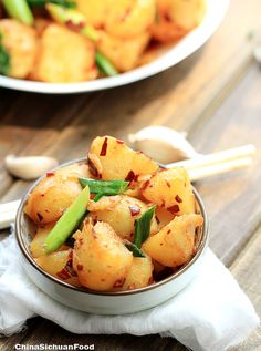Red Braised Potatoes == bag of small potatoes around 400g 4 garlic cloves, finely chopped 2 teaspoons doubanjiang (Or you can adjust the amount depending how spicy you want it to be) 2 teaspoon cooking oil, sunflower seed oil 2 teaspoons salt 3 fresh green leeks cut into 1 inch sections