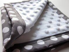 Baby Security Blanket Lovey Gray White Dot Minky Blankie