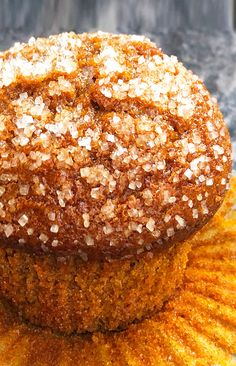Quick and easy pumpkin muffins recipe, homemade with simple ingredients. Starts off with spice cake mix. Soft, moist, topped off with crunchy sugar topping! Pumpkin Zucchini Muffins, Pumpkin Oatmeal Muffins, Pumpkin Cream Cheese Muffins, Pumpkin Muffin Recipes, Oatmeal Cake, Pumpkin Bread, Canned Pumpkin, 2 Ingredient Pumpkin Muffins, Cake Mix Recipes