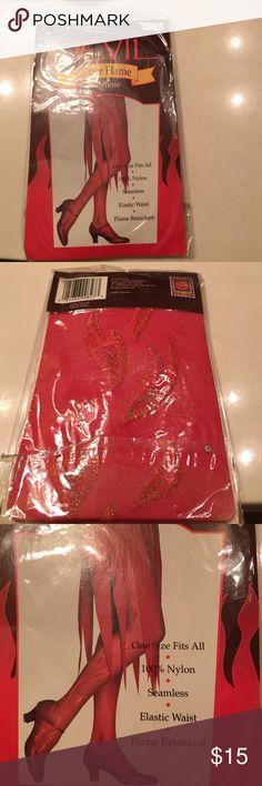 Devil pantyhose Glitter flame, seamless, elastic waist, Devil Accessories Hosiery & Socks