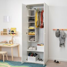 IKEA - GODISHUS, Wardrobe, white, You can position the shelf and clothes rail in two different ways – clothes rail at the top and shelf down below, or both together at the top of the wardrobe. Deep enough to hold standard-sized adult hangers. Ikea Kids Wardrobe, Kids Wardrobe Storage, Wardrobe Organisation, Vinyl Record Storage, Lp Storage, Armoire Ikea, Baby Armoire, Childrens Wardrobes, Ikea Kids Room