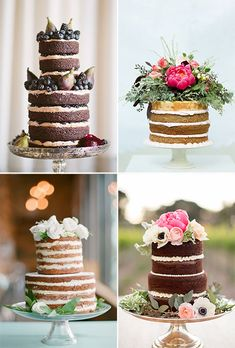 We found tons of amazing unfrosted wedding cakes, proving you don't need fondant or buttercream to make a statement with your big-day confection!