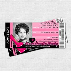 BACHELORETTE TICKET INVITATIONS - Also great for a 21st or 30th Birthday - All Access VIP Party Pass (printable)