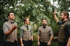 Perfection for your enchanted forest wedding. Very woodsy and rugged these grooms men's attire. But not too casual. Perfect. Via:project wedding /gemjunkiejewels