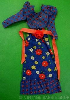 1973 Barbie Doll Best Buy Fashions 3343 Dress w HTF Flower Rose Ribbon Belt Mod   eBay