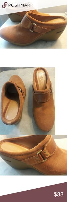 New Cole Haan Nike Suede Leather wedge shoe boots Gorgeous and so comfortable. Cole Haan Nike Air Suede Leather Slides/ Slip ons. Brown suede with leather straps. Brass buckle detail. These are brand new. Cole Haan Shoes Mules & Clogs