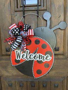 Excited to share this item from my #etsy shop: Lady Bug Door Hanger, Spring Wreath, Spring Door Hanger, Easter Wreath, Easter Decor, Front Door decor, Easter door hanger Wooden Art, Wooden Crafts, Spring Door, Baby Shower, Front Door Decor, Easter Wreaths, Exterior Paint, Door Hangers, Hand Painted